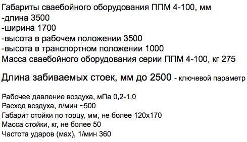 Технические характеристики установки ППМ-4-100