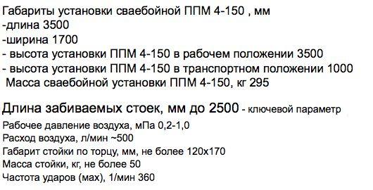 технические характерисики ППМ 4-150