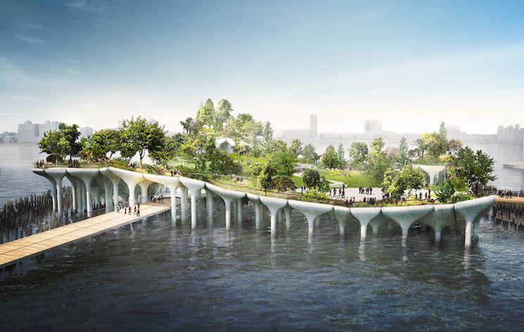 Проект острова на сваях в Нью-Йорке